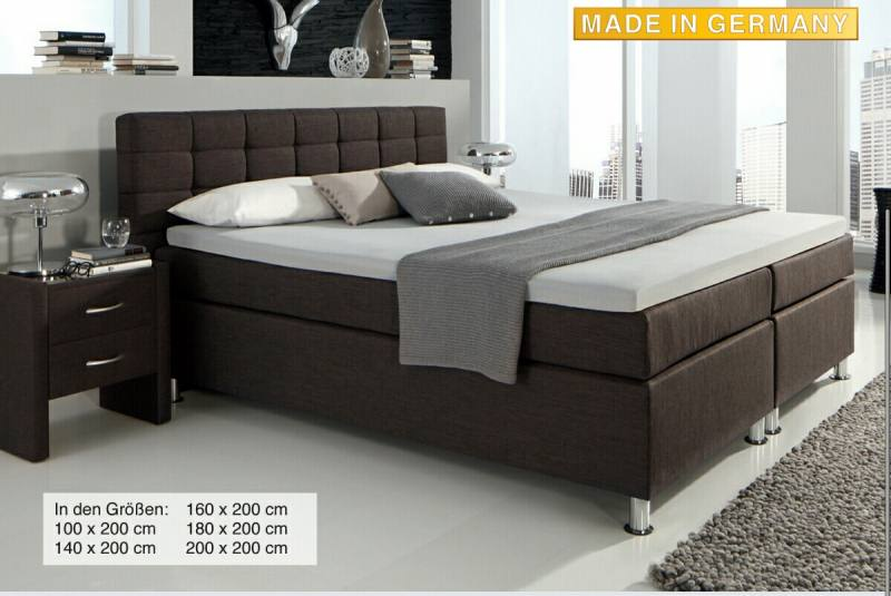 boxspringbett boston 100 x 200 cm. Black Bedroom Furniture Sets. Home Design Ideas